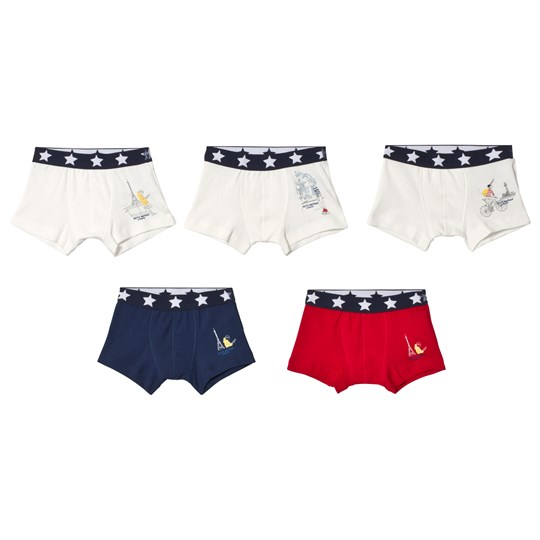 Petit Bateau Set of 5 Boxers Paris Printed White