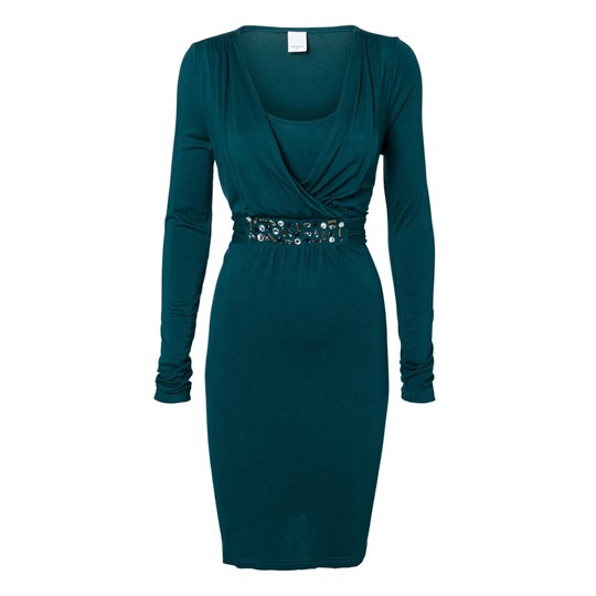 Mamalicious Claudia Tess Dress Deep Teal Green