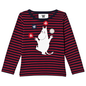 Image of Wood Wood Kim T-Shirt Navy/Red Stripe 1-2 år (3125290043)