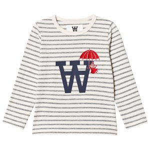 Image of Wood Wood Kim T-Shirt Off White/Grey Stripe 1-2 år (3125290053)