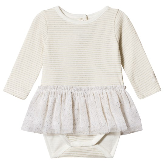 Petit Bateau Baby Body with Lurex Ruffle Off-White/Gold Off-white/gold