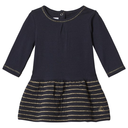Petit Bateau Baby LS Dress with Striped Skirt Blue/Gold Blue/Gold