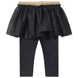 Petit Bateau Baby Leggings with Tulle Blue/Gold