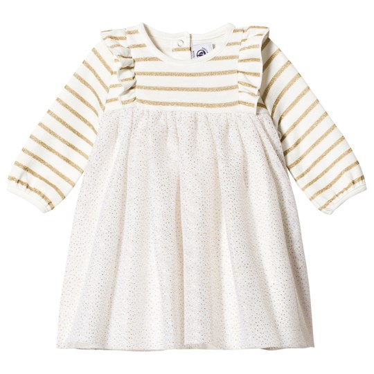 Petit Bateau Baby Dress with Tulle Off-White/Gold Off-white/gold