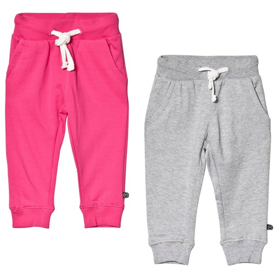 Minymo 2-Pack Sweatpants Dark Pink/Grey Dark Pink