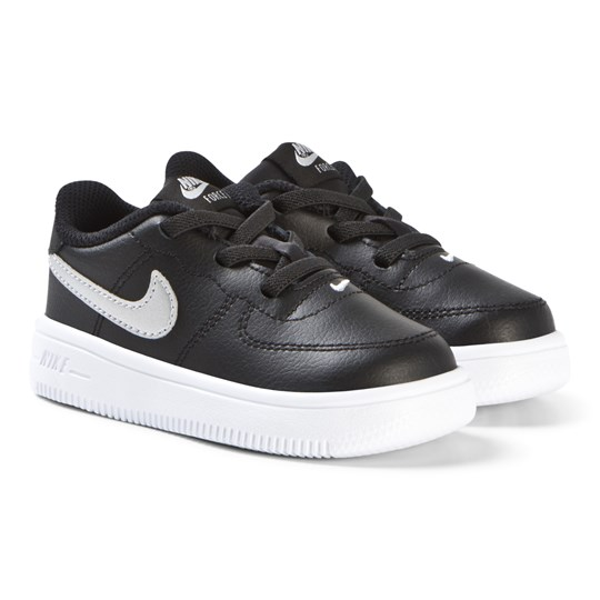 NIKE Black and Metallic Silver Force 1 Infants Shoes 003