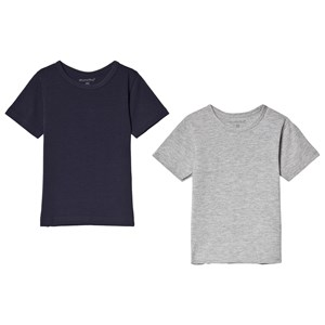 Image of Minymo 2-Pack Tee Navy and Grey 128 cm (7-8 år) (371478)