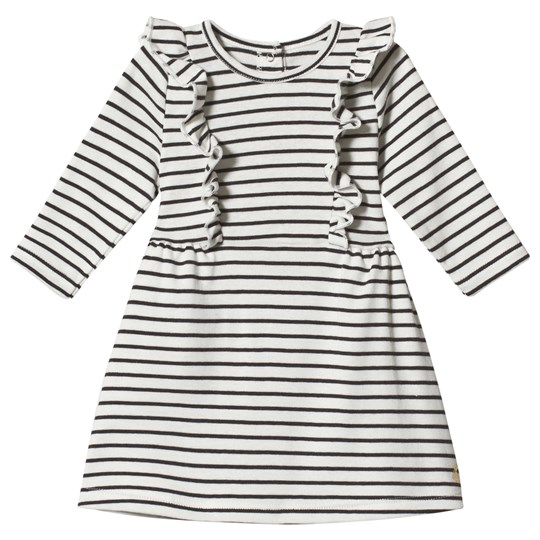 Petit Bateau Baby Dress with Ruffles Striped Off-White/Grey Off-White/Grey