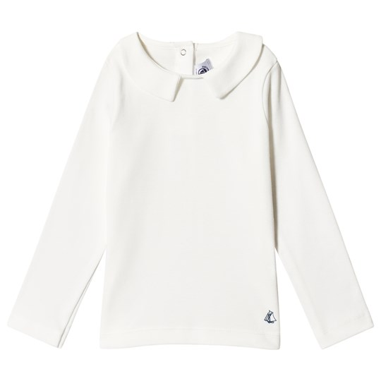 Petit Bateau LS T-Shirt with Collar Off-White off-white