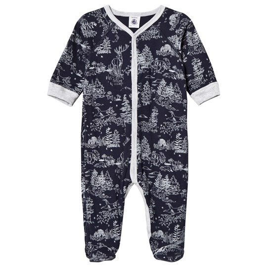 Petit Bateau Forest Print Footed Baby Body Navy/Grey Blue/White