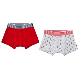 Image of Petit Bateau 2-Pack Anchor Boxers Red/Grey 2 år (3125308935)