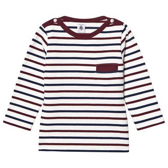 Petit Bateau Stripe Baby T-Shirt Off White/Red off-white