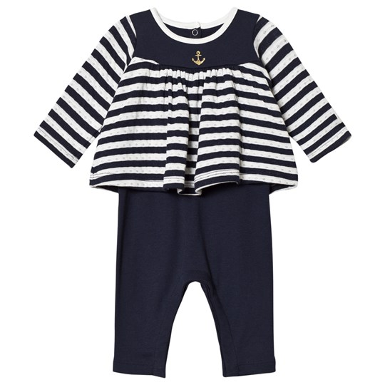 Petit Bateau Babygrow with Tunic Top Striped Blue/Off-White Blue/Off-White