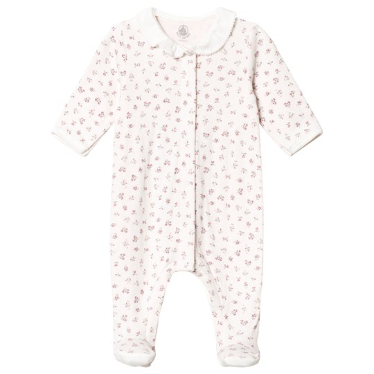 Petit Bateau Floral Print Footed Baby Body Off White off-white