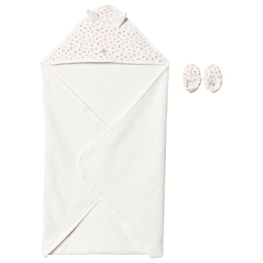 Petit Bateau Floral Towel and Slippers Off White off-white