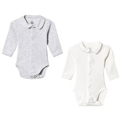 Petit Bateau 2-Pack Baby Bodies Off White/Grey
