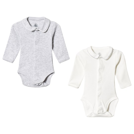 Petit Bateau 2-Pack Baby Bodies Off White/Grey White