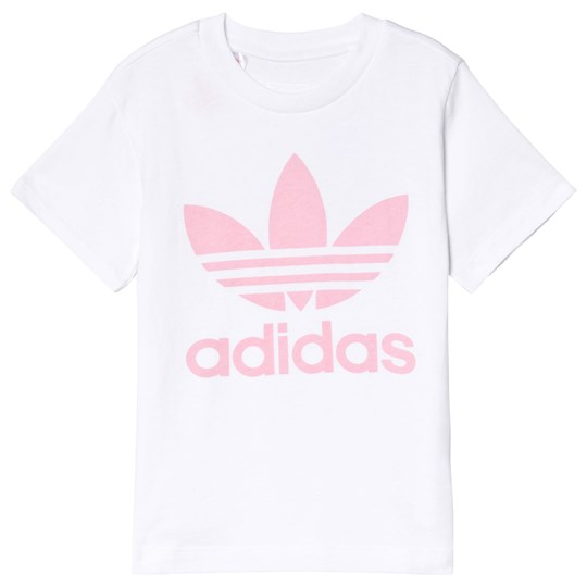 adidas Originals White & Pink Trefoil Logo Tee White/Light Pink