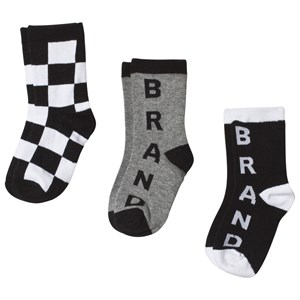 Image of The BRAND 3-Pack Socks Black, White and Grey 22-24 (1-2 Years) (3125264321)