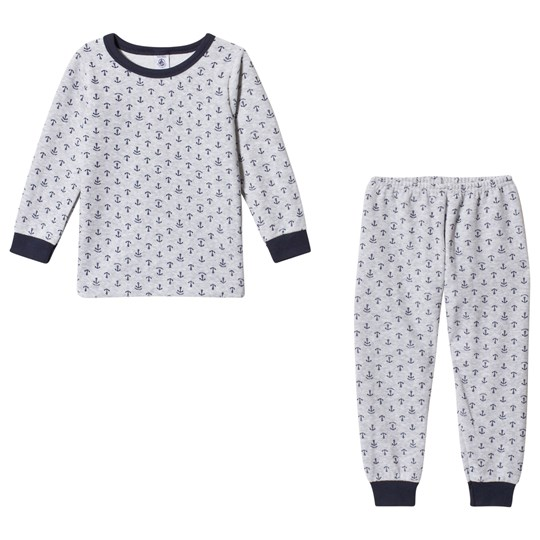 Petit Bateau Grey Blue Anchor Velour Pajamas Grey/Blue