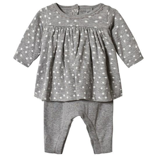 Petit Bateau Dotted Baby Dress Dotted Grey Sort