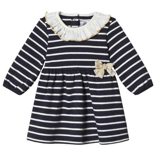 Petit Bateau Striped Baby Dress Navy/Off-White Blue/Off-White