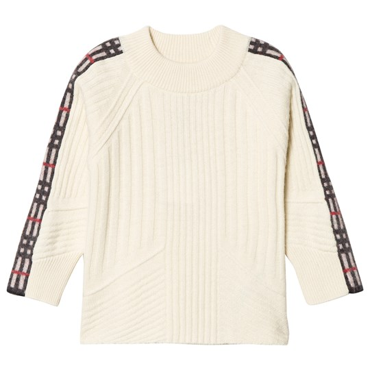 Burberry Cathie Check Sleeve Detail Sweater Cream A1452
