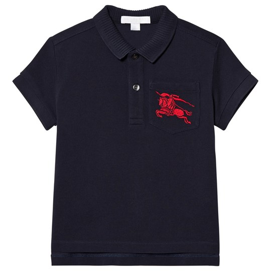 Burberry Grant Branded Piqué Polo Navy A1222