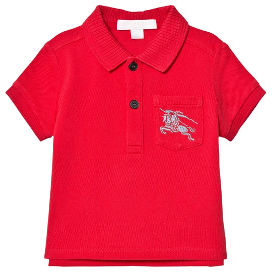Burberry Mini Grant Branded Piqué Polo Red A1460