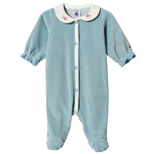 Petit Bateau Blue Contrast Piping Footed Baby Body Blue