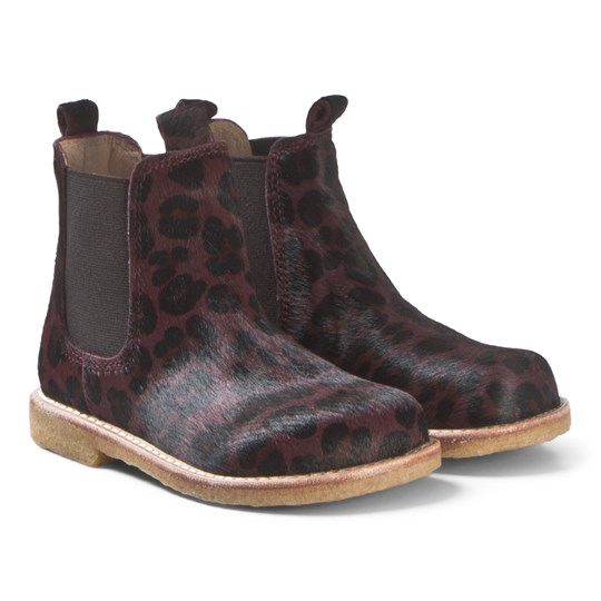 Angulus Red Leopard Pony Hair Chelsea Boots 1115