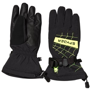 Image of Spyder Black and Yellow Overweb Ski Gloves L (6) (3125281365)