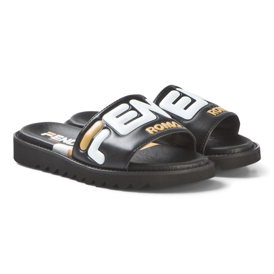 Fendi Black Leather Sliders F15FZ