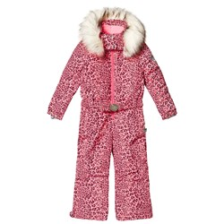 Poivre Blanc Leopard Belted Overall Punch Pink