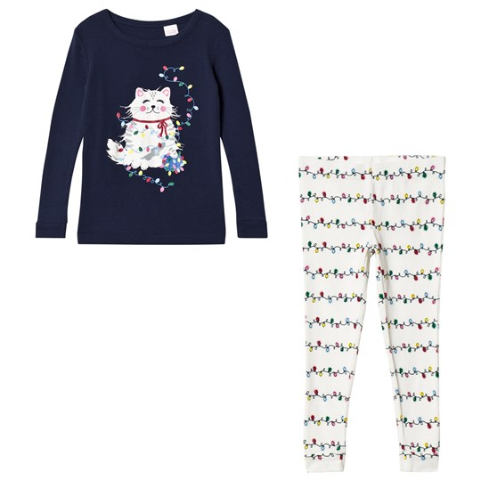 Lands' End Navy White Cat Pajama Set GNN