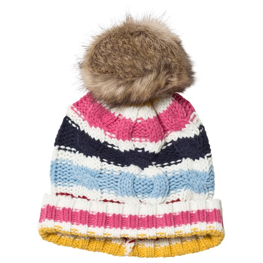 Lands' End Multi Rainbow Stripe Pom Pom Hat RUC