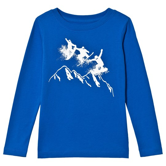 Lands' End Blue White Snow Boarder Long Sleeve Tee E1O
