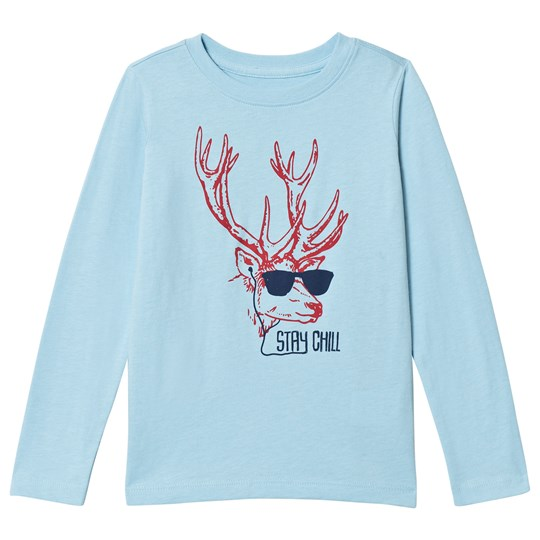 Lands' End Blue Stay Chill Reindeer Long Sleeve Tee E15