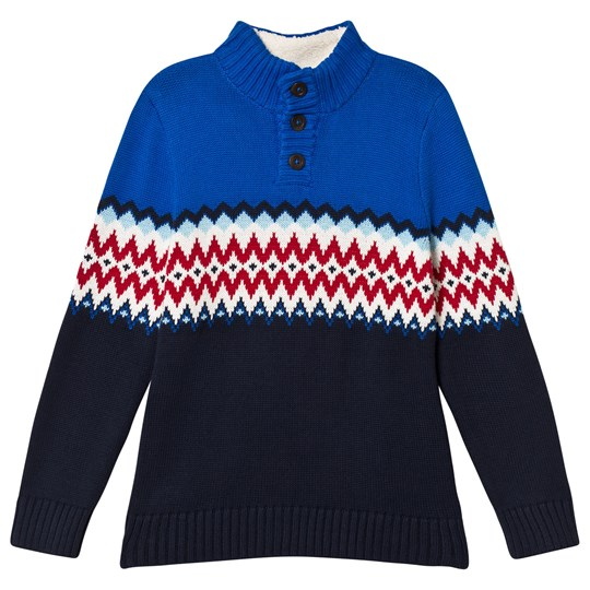 Lands' End Blue Sapphire Fairisle Mock Neck Sweater EZU