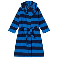 Lands  End Blue and Navy Stripe Fleece Robe 6AU f402dbd2f