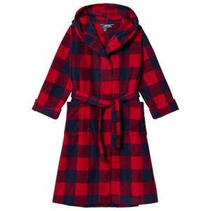 Image of Lands' End Red and Navy Check Fleece Robe 4 years (3125289775)