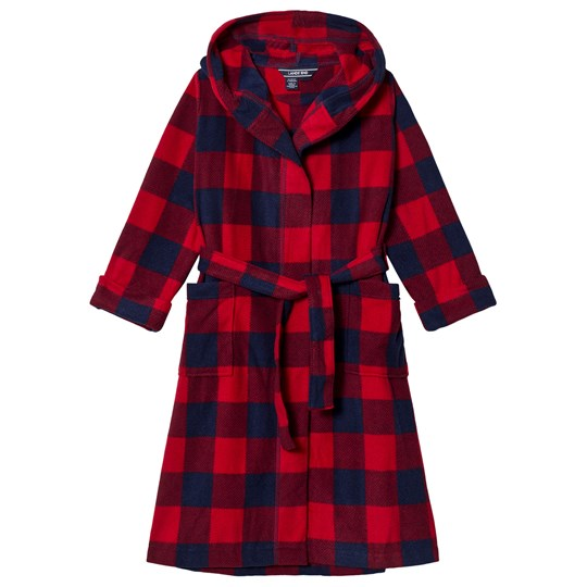 Lands' End Red and Navy Check Fleece Robe GLV