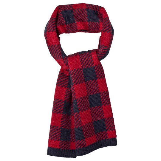 Lands' End Red Navy Buffalo Check Knit Scarf EXE