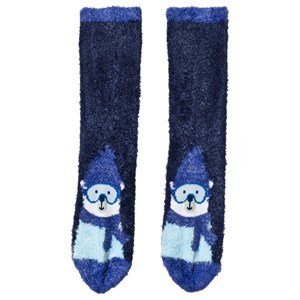 Image of Lands' End Deep Blue Ski Bear Cozy Slipper Socks L (UK 13-3) (3125289789)