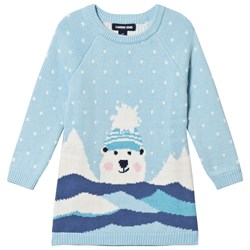 Lands' End Pale Blue Snowy Polar Bear Knitted Sweater