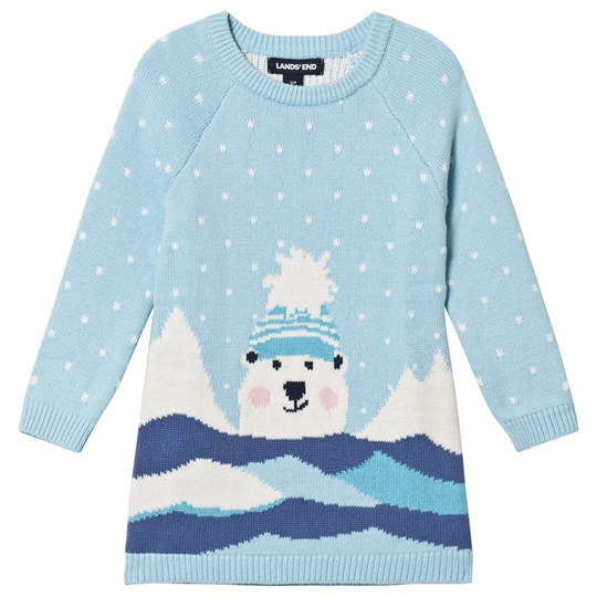 Lands' End Pale Blue Snowy Polar Bear Knitted Sweater EU1