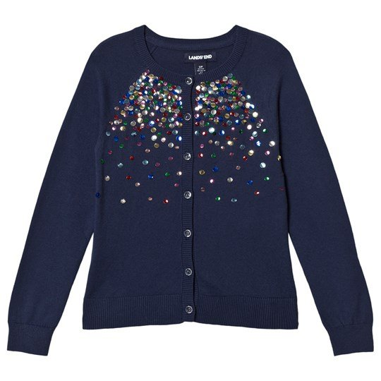 Lands' End Navy Midnight Sequins Cardigan EXB