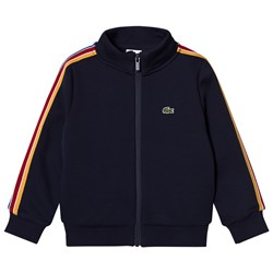 Lacoste Navy Full Zip Taped Side Track Top