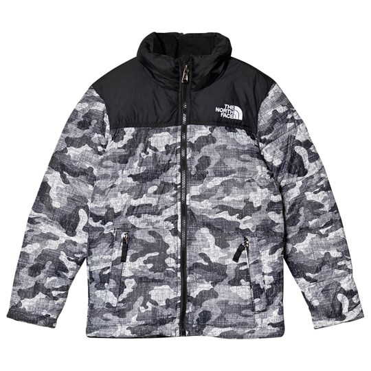 The North Face Black Textured Camo Print Nuptse Down Jacket BLACK TEXTURED CAMO
