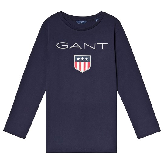 GANT Navy Shield Logo Long Sleeve Tee 433